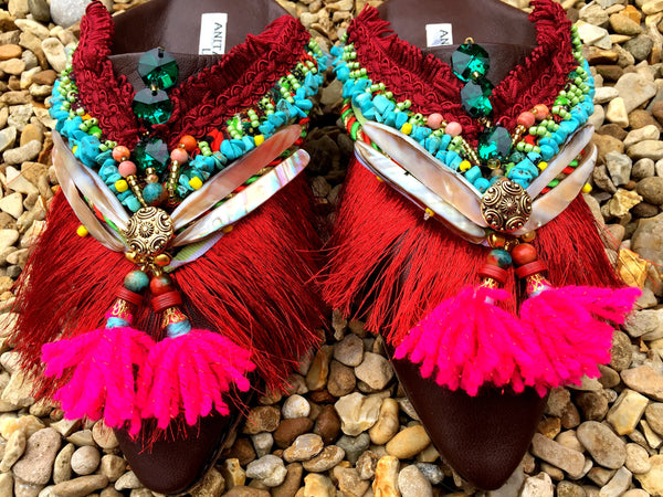 Valdis Beaded leather Tassel Slippers