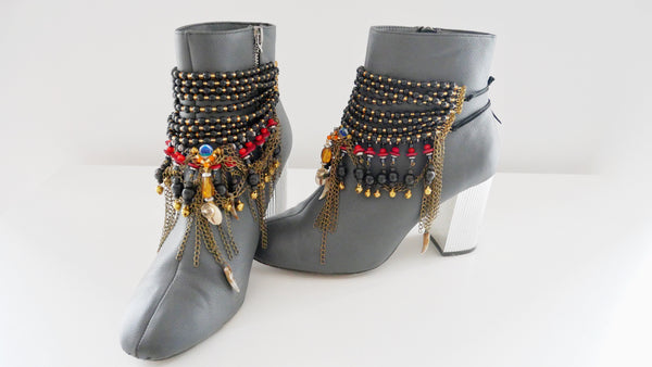 Mwila Multi-Beaded Textured And Charm Chain Tassel Ankle Bracelets Anita Quansah London
