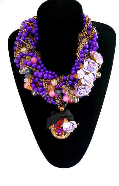 Bella Embellished Rose and Chain Choker Necklace With Locket Pendant Anita Quansah London
