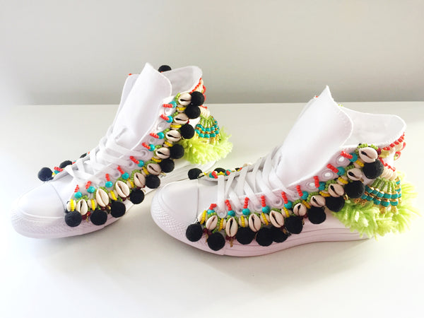Odell Beaded Embellished High Top Canvas Sneakers