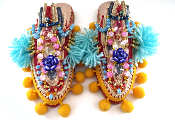 Saskia Embellished Tassel Pom-Pom Leather And Raffia Slippers Anita Quansah London