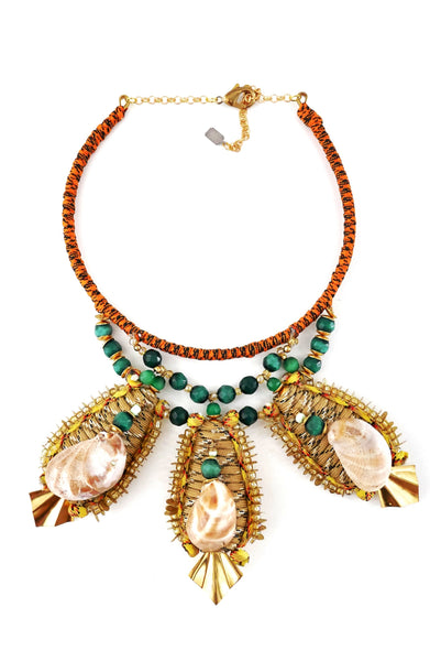 Yedda Beaded Shell Embellished Pendant Choker Necklace