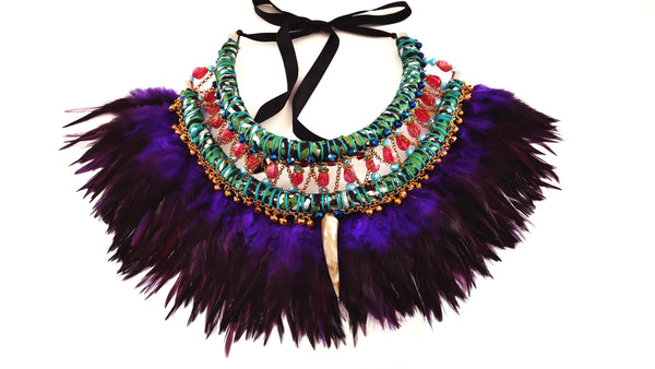 Eada Embellished Beaded Feather Necklace