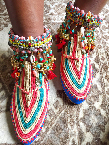 Inaya Multi-Beaded Embellished Charm And Tassel Anklets Anita Quansah London