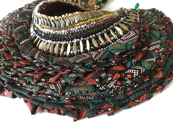 Sachi Embellished African Print Ruffle Beaded Neck piece