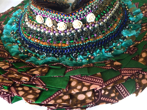 Tatum Embellished African Print Ruffle Beaded Neck Piece