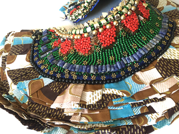 Lasya Embellished African Print Ruffle Beaded Neck piece