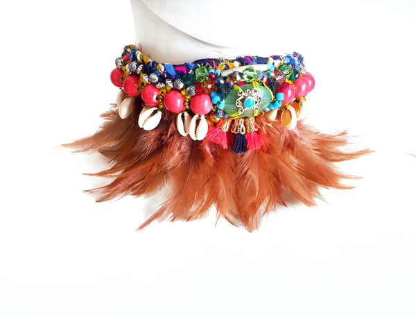 Akello Beaded Shell Feather Necklace