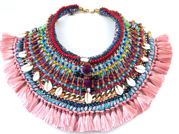 Kitana Multi Beaded Shell Tassel Necklace