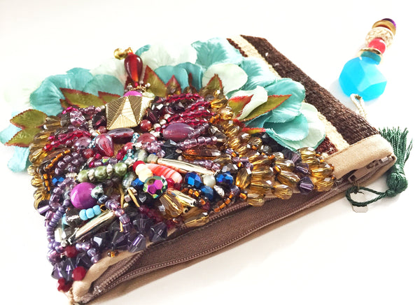 Rae Embellished Beaded Silk Rose Petal Clutch