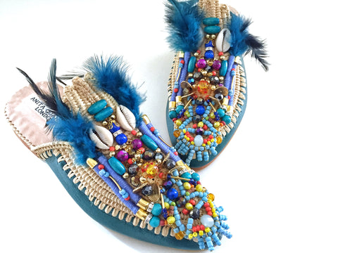 Adelle Beaded Leather And Raffia Feather Slippers By Anita Quansah London