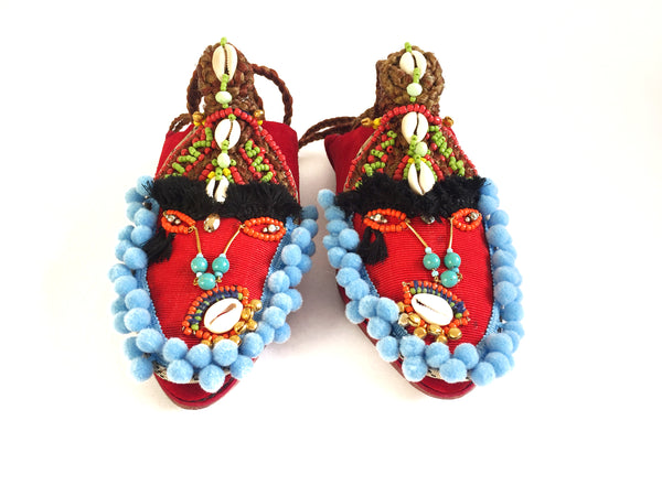 Carlita Embellished Red Shell Suede Pom-Pom Sandals By Anita Quansah London