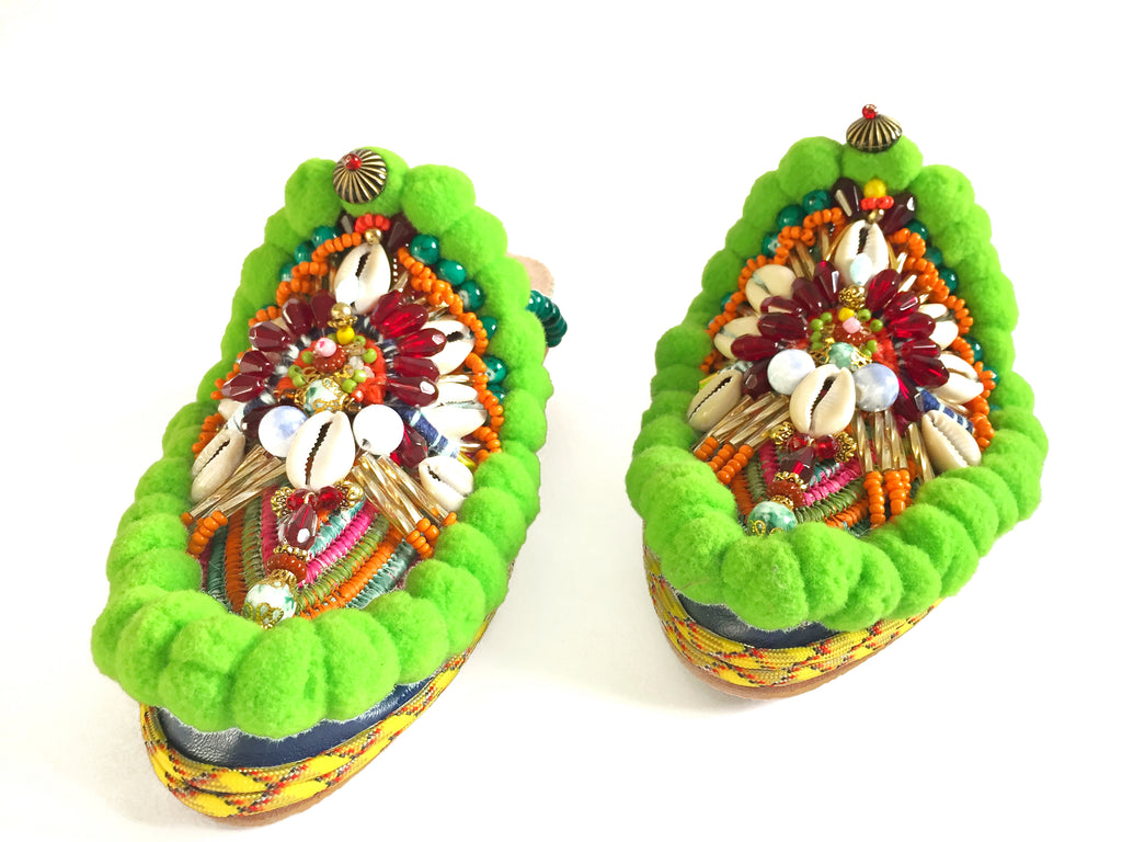 Bette Leather And Raffia Embellished Pom-Pom Slippers By Anita Quansah London