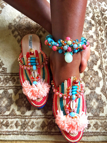 Calaluna Multi-Beaded Embellished Charm And Tassel Anklets Anita Quansah London