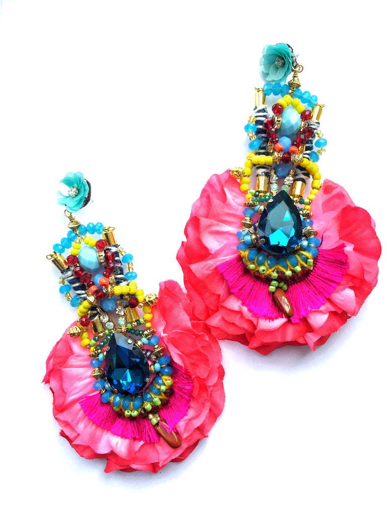Lucia Crystal Statement Rose Petal Earrings