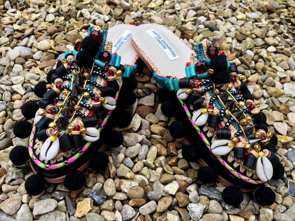 Amaka Beaded Pom-Pom Raffia And Leather Slippers By Anita Quansah London