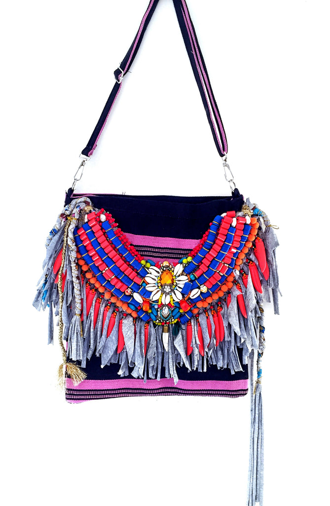 Collette fringed cross body bag