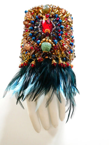 Asake Beaded Swarovski Crystal Feather Cuff