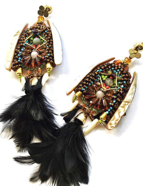 Arabella Beaded Feather Earrings