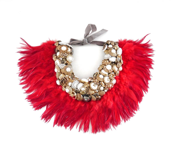 Serena Embellished Vintage Gold Button With Red Feather Collar Necklace Anita Quansah London