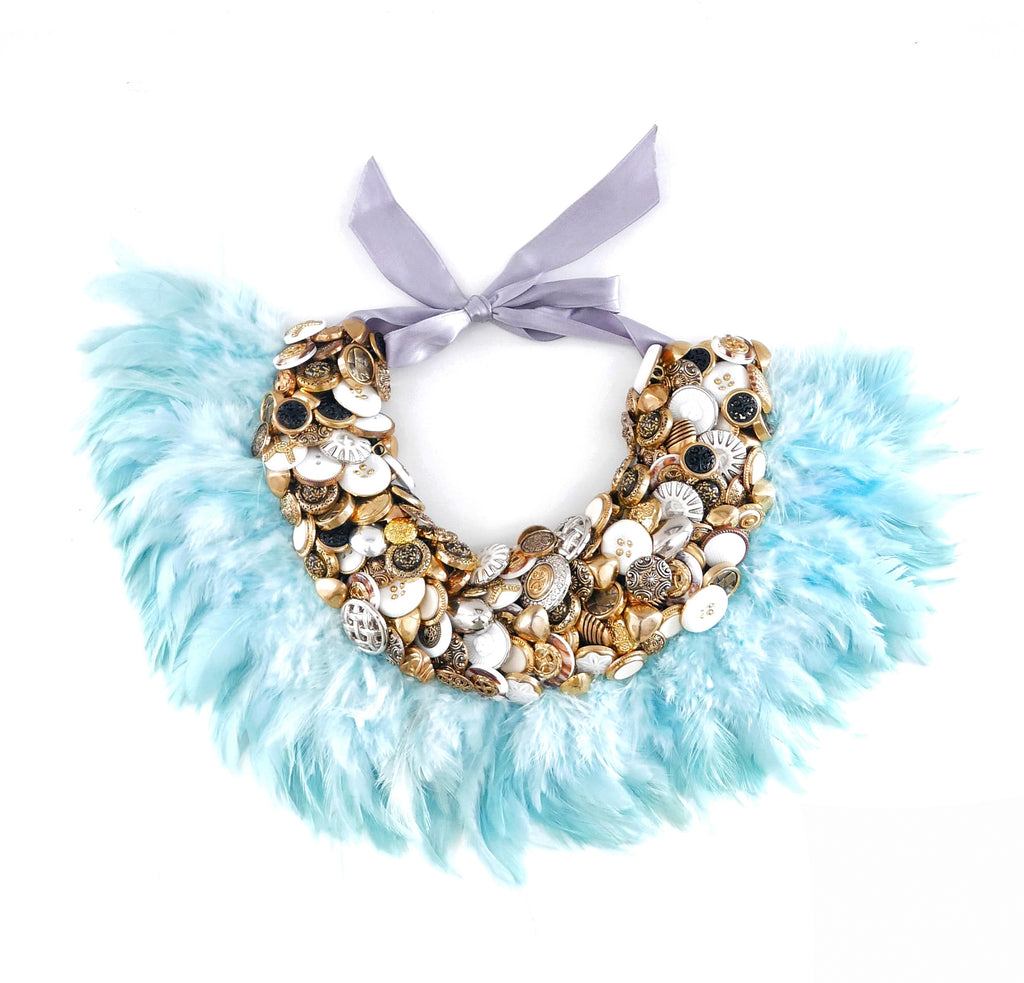 Serena Embellished Vintage Gold Button And Blue Feather Collar Necklace Anita Quansah London
