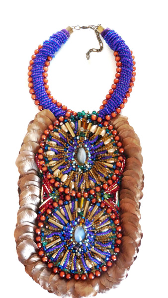 Kabira Multi Beaded Rose Petal Bib Statement Necklace