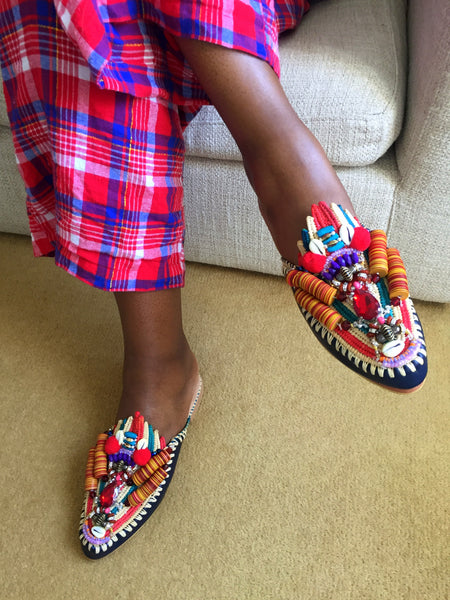 Zuly Embellished Raffia And Leather Slippers by Anita Quansah London