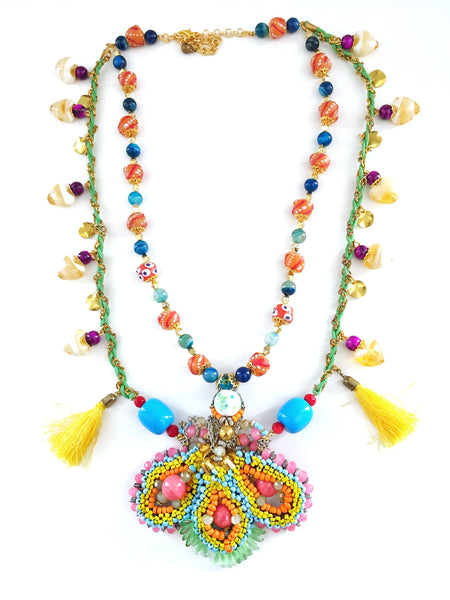 Swara Beaded-Embellished Double Layer Tasselled Necklace