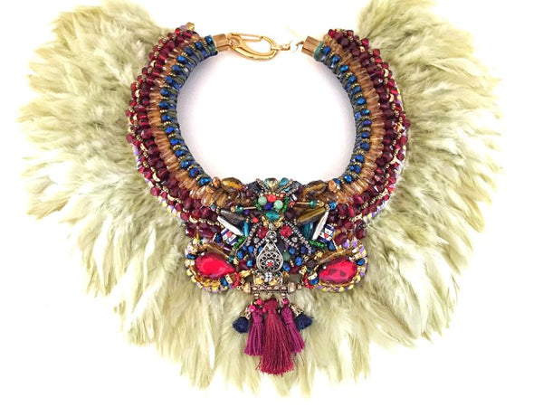Johari Beaded Feather Necklace