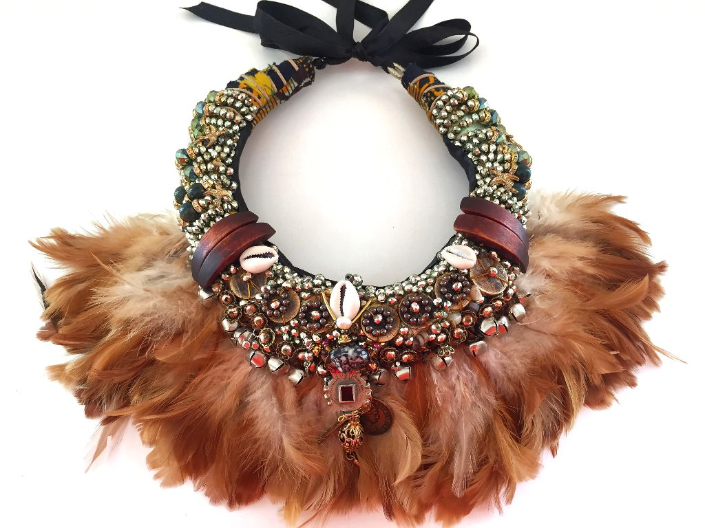 Asaka Beaded Embellished Feather Necklace