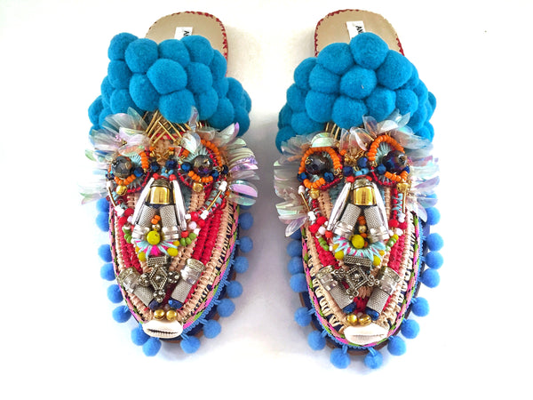 Oden  Embellished Pom-Pom Raffia Slippers By Anita Quansah London
