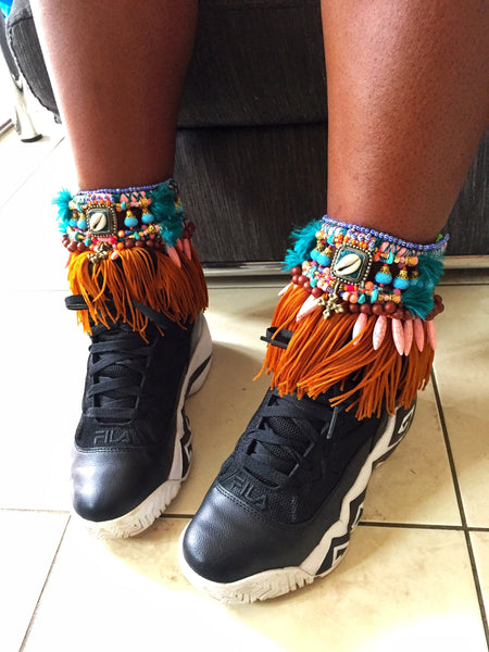 Zinnia Beaded Embellished Charm And Tassel Anklets By Anita Quansah London