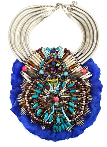 Llia Multi Beaded Silk Rose Petal Bib Statement Necklace