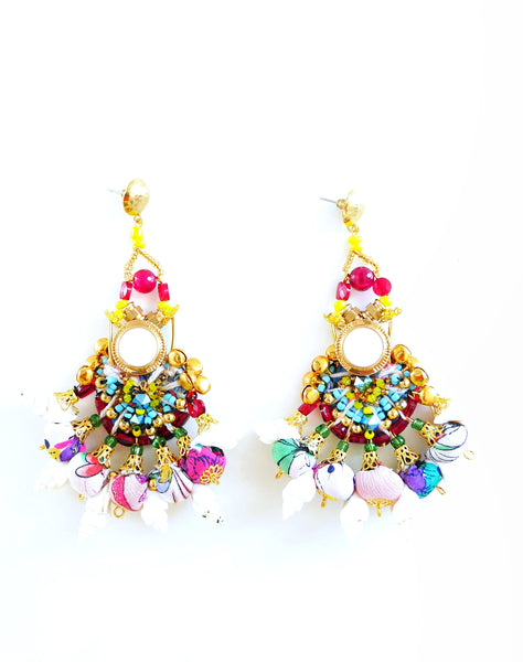 Kara Multi-Beaded and Crystal Embellished Chandelier EarringsSeashell Earrings-Beaded Earrings-Jewellery Designer- Milton Keynes-Beach style-Surf Jewellery