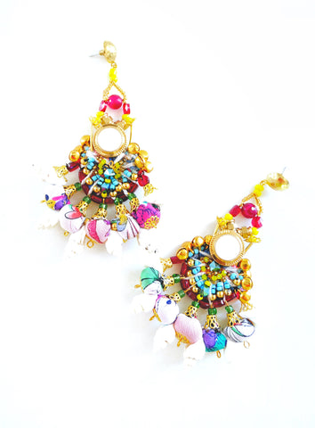 Kara Multi-Beaded and Crystal Embellished Chandelier Earrings