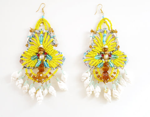 Ursum Beaded Embellished Swarovski Crystal Shell Chandelier Earrings