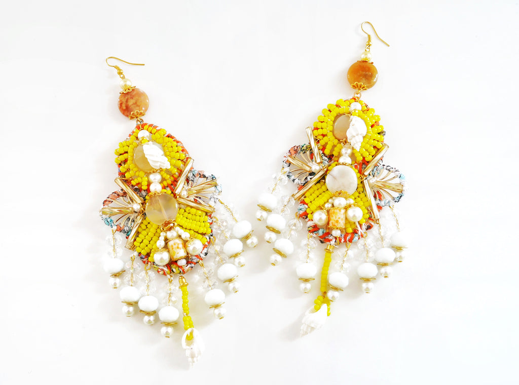 Malia Beaded Crystal Shell Earrings-Gemstone Chandelier  Earrings-Seashell Earrings-Beaded Earrings-Jewellery Designer- Milton Keynes-Beach style-Surf Jewellery