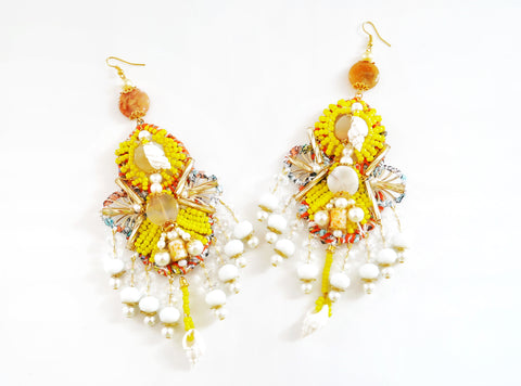Malia Beaded Crystal Shell and Gemstone Chandelier  Earrings