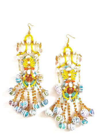 Shirina-Beaded- Embellished-Baubles- Chandelier-Drop Earrings- Anita-Quansah- London