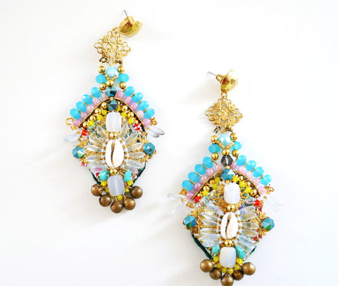 Selena Embellished Crystal and Shell Drop Earrings Anita Quansah London London Jewellery Designer