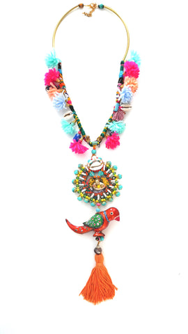 Belva Bird Beaded Embellished tasselled Pendant Necklace