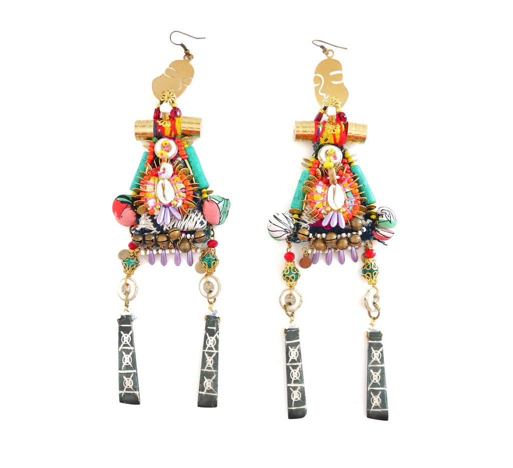 Velma-Beaded-Embellished-Brass-Face Earrings-African Jewellery-Tribal Jewellery- UK Jewellery Designer-Anita Quansah London