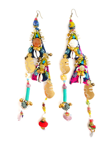 Bonita Multi-Beaded Embellished Brass Face Earrings