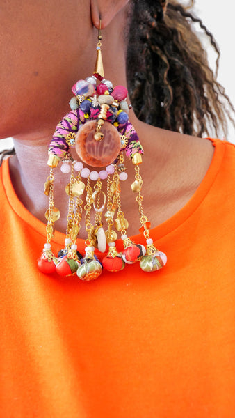 Chava Embellished-Textile Charm Drop Tassel Earrings- Earrings-African Jewellery-Tribal Jewellery- UK Jewellery Designer-Anita Quansah London-Face Jewellery