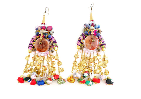 Chava Embellished Textile Charm Drop Tassel Earrings
