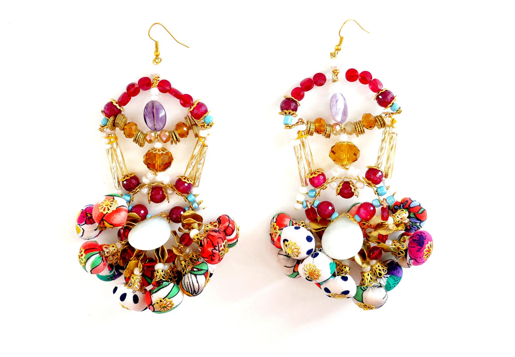 Kalila Swarovski Crystal, Brass-Plated Pom-Pom Earrings