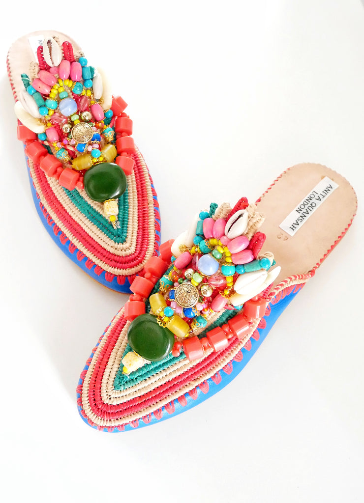 Mara Embellished Beaded Raffia And Leather Slippers Anita Quansah London