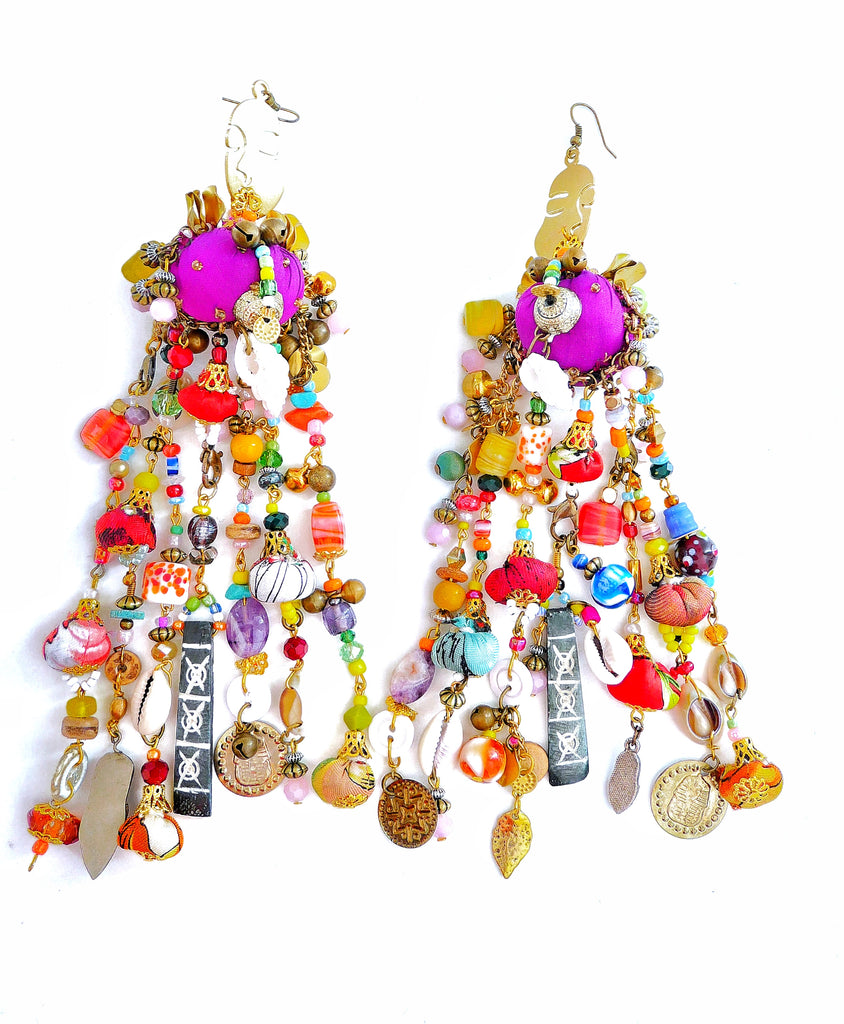 Willow-Multi-Beaded-Embellished-Chandelier Earrings=Earrings-African Jewellery-Tribal Jewellery- UK Jewellery Designer-Anita Quansah London-drop Jewellery-Morocco Jewellery