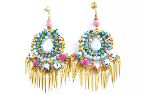 Gracen Beaded-Embellished Gold Plated Dagger Drop Earrings