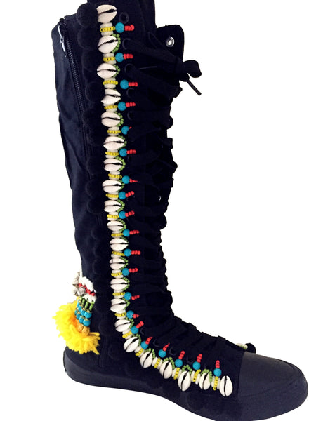 Rahele Beaded Shell Tassel And Pom-Pom Trimmed Canvas Knee Boots